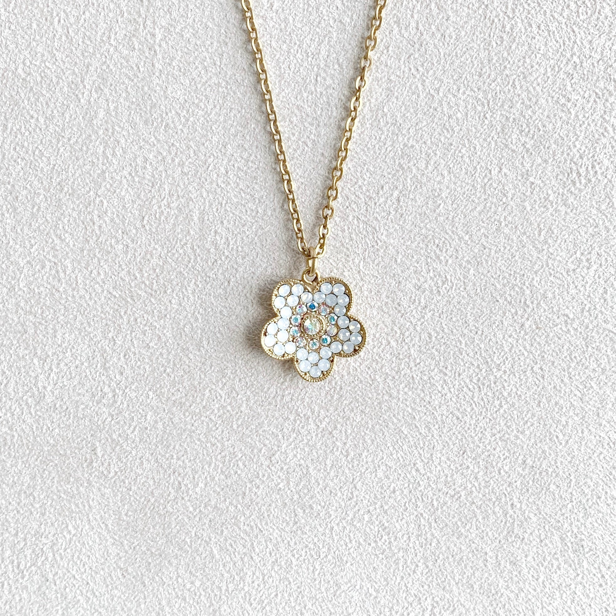Crystal Flower Pendant Necklace in White Opal