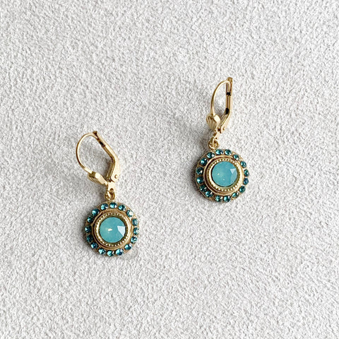 Small Round Dangle Earrings in Pacific Opal