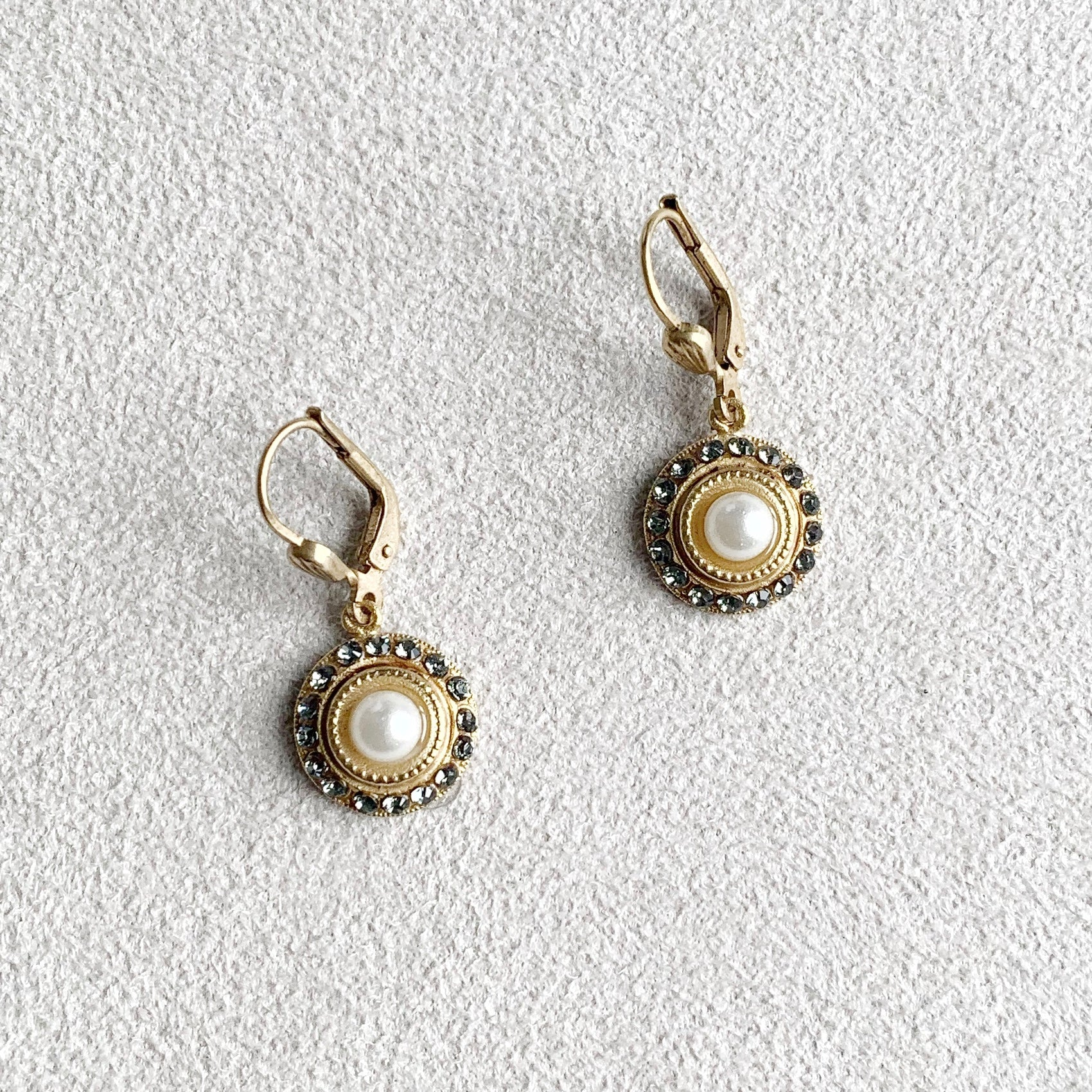 Small Round Dangle Earrings in Pearl