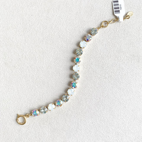 Multi Color Crystal Bracelet in White Opal Mix