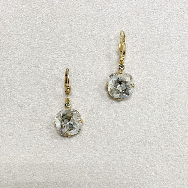 Large Stone Crystal Dangle Earrings in Shade