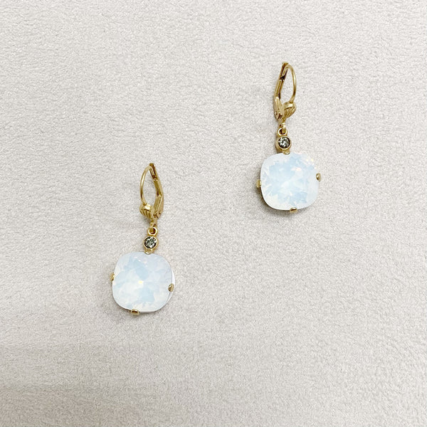Large Stone Crystal Dangle Earrings in White Opal