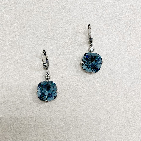 Large Stone Crystal Dangle Earrings in Midnight Blue