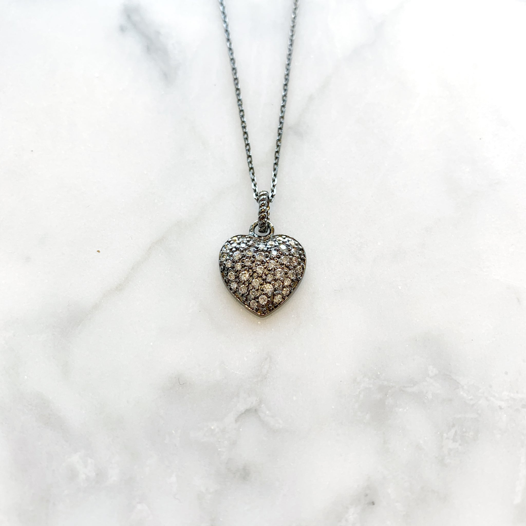Sterling Silver CZ Heart Necklace