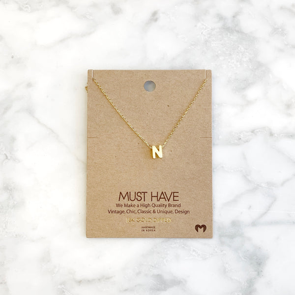 """N"" Initial Necklace"