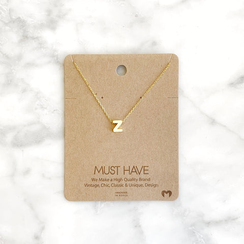 """Z"" Initial Necklace"