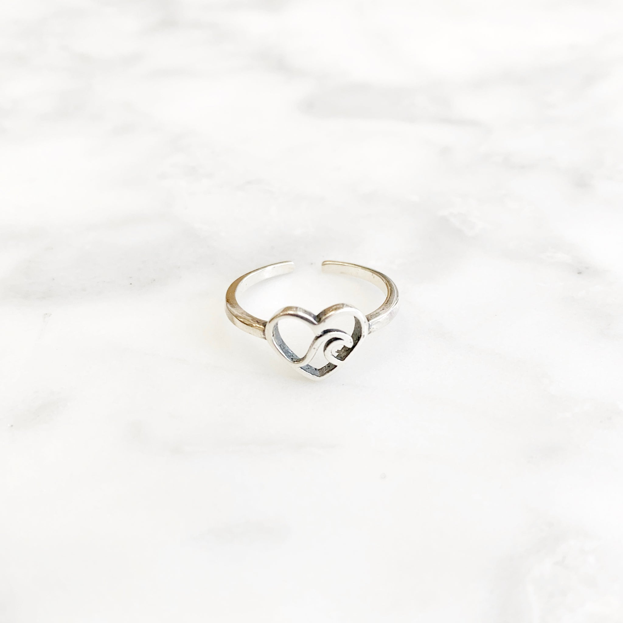 Sterling Silver Heart Wave Toe Ring