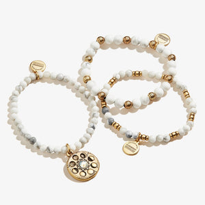Lunar Phase Charm Beaded Stretch Bracelet Set of 3