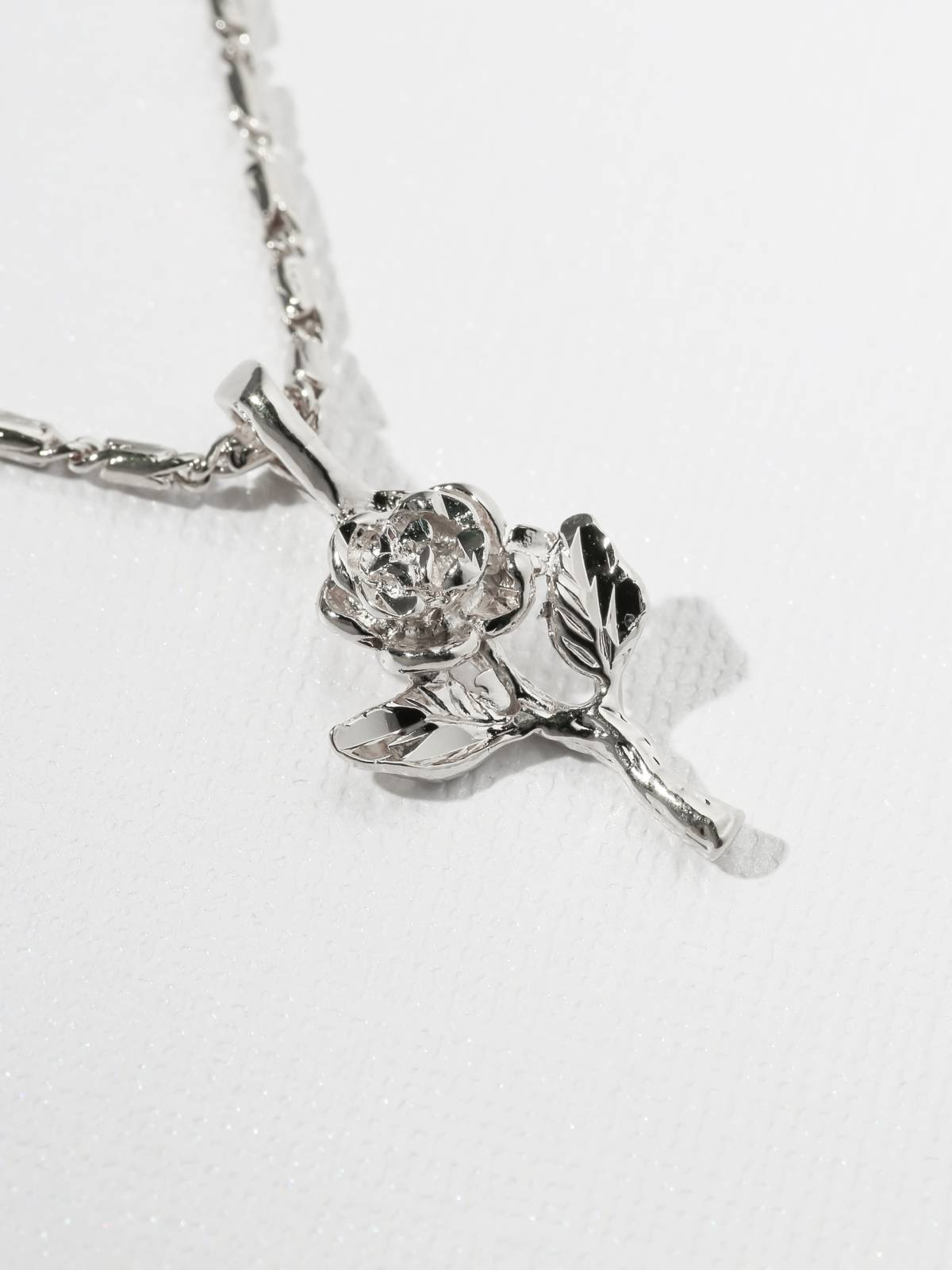 The Little Rose Charm Necklace in Silver