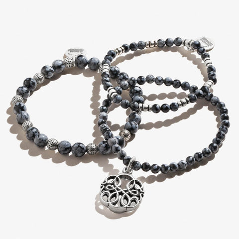 Path of Life Charm Beaded Stretch Bracelet Set of 3