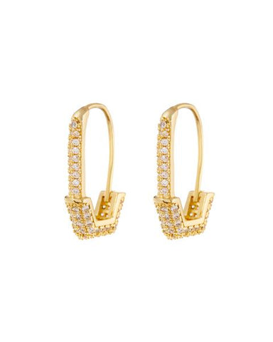 Pave Hex Safety Pin Earrings