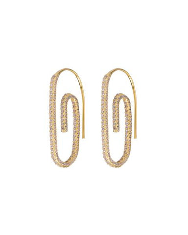 Pave Paper Clip Earrings