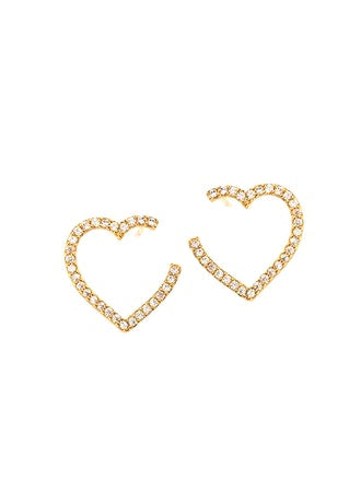 Pave Open Front Facing Heart Hoop