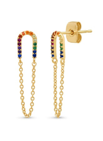 Rainbow Earrings with Chain Accent