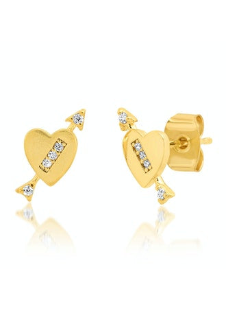 CZ Arrow Heart Studs