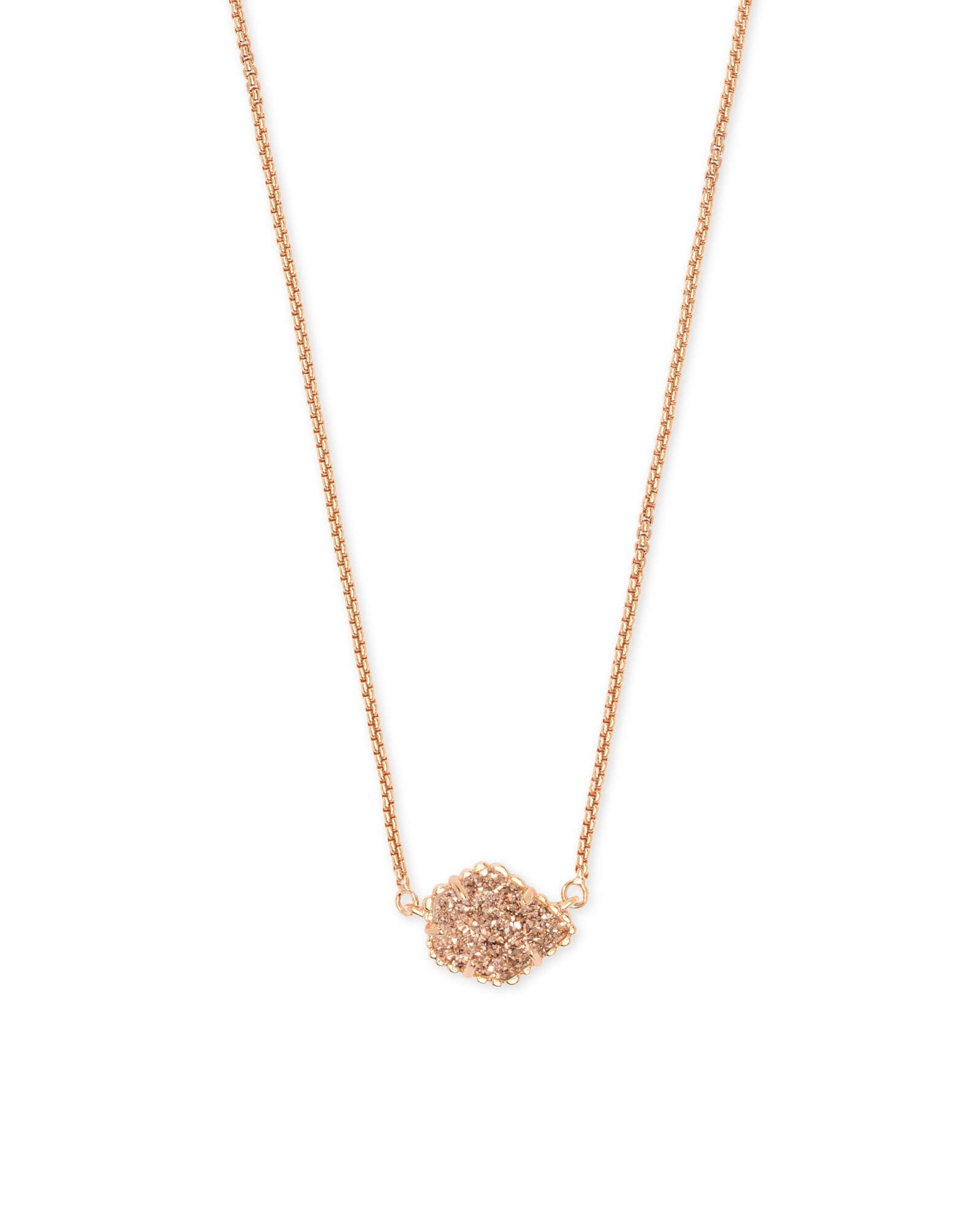 Tess Rose Gold Pendant Necklace (Drusy)