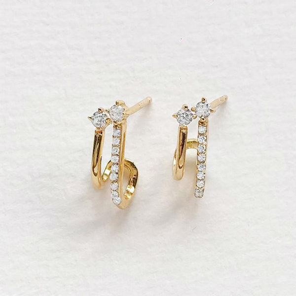 Double Pave Gold Huggie Earrings