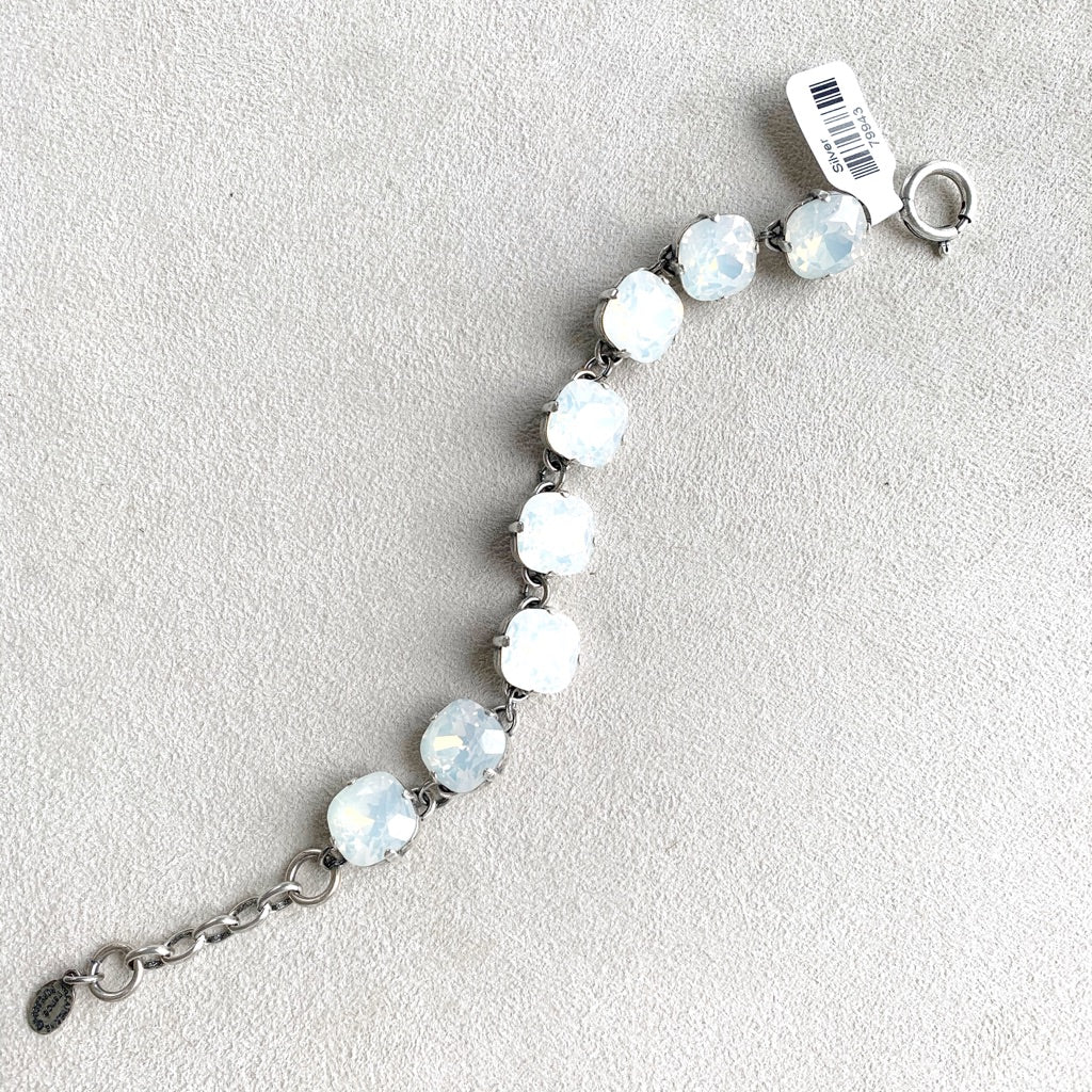 12mm Large Stone Crystal Bracelet in White Opal