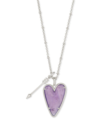 Ansley Heart Rhodium Long Pendant Necklace In Amethyst