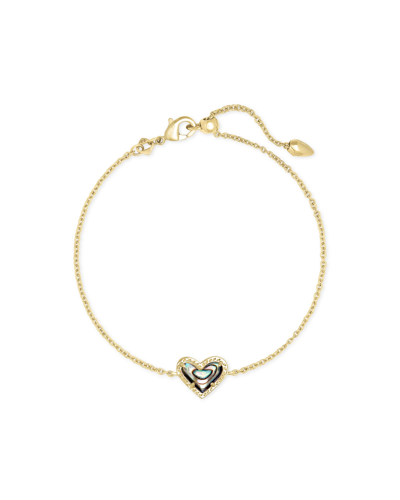 Ari Heart Gold Chain Bracelet In Abalone Shell