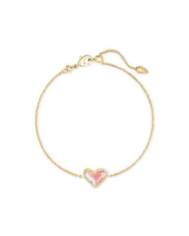 Ari Heart Gold Chain Bracelet In Dichroic Glass
