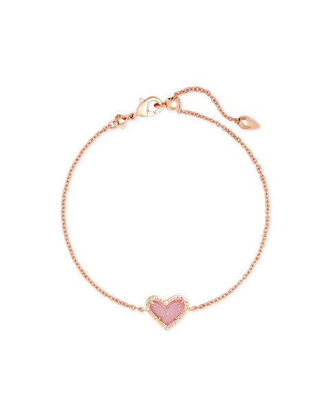 Ari Heart Rose Gold Chain Bracelet In Pink Drusy
