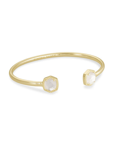 Davie Gold Cuff Bracelet In Ivory Mother-Of-Pearl