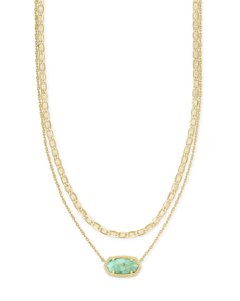 Elisa Gold Multi Strand Necklace In Sea Green Chrysocolla