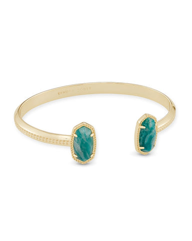 Elton Gold Cuff Bracelet In Dark Teal Amazonite