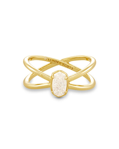 Emilie Gold Double Band Ring In Iridescent Drusy
