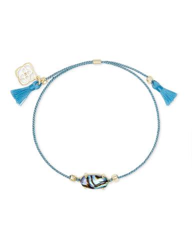 Everlyne Blue Cord Friendship Bracelet In Abalone Shell