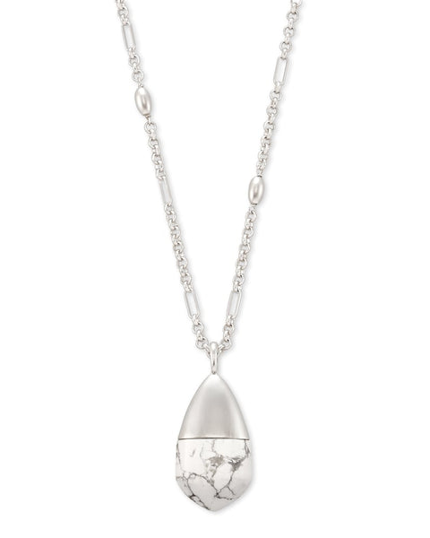 Freida Silver Long Pendant Necklace In White Howlite