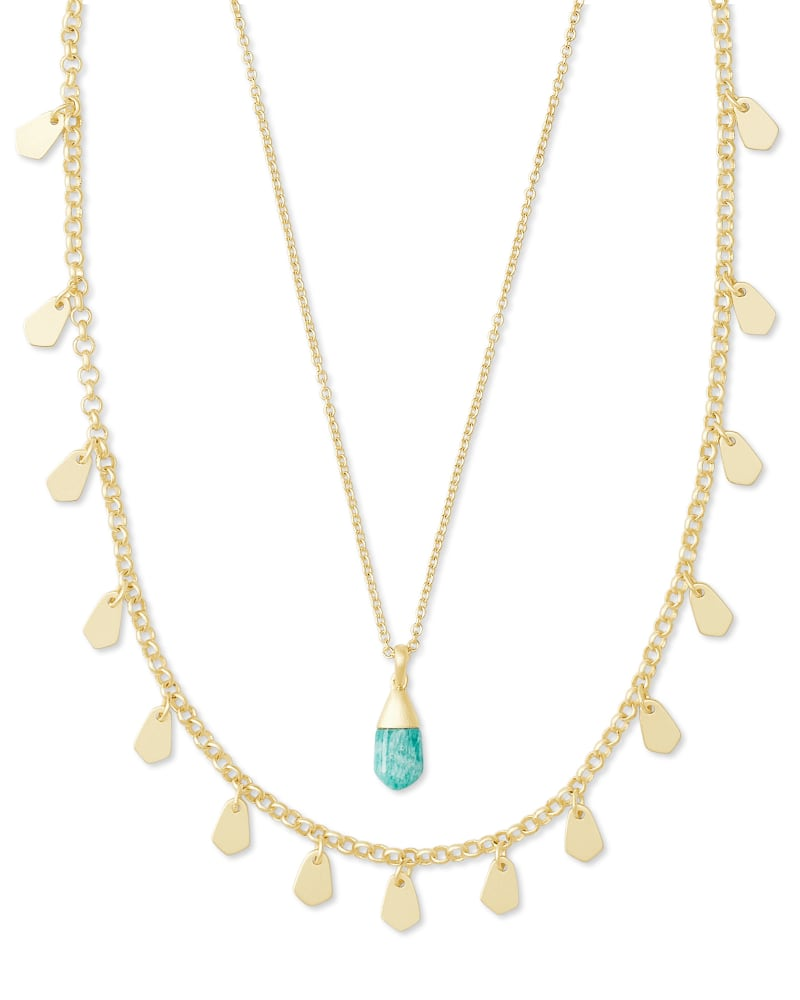 Freida Gold Multi Strand Necklace In Dark Teal Amazonite
