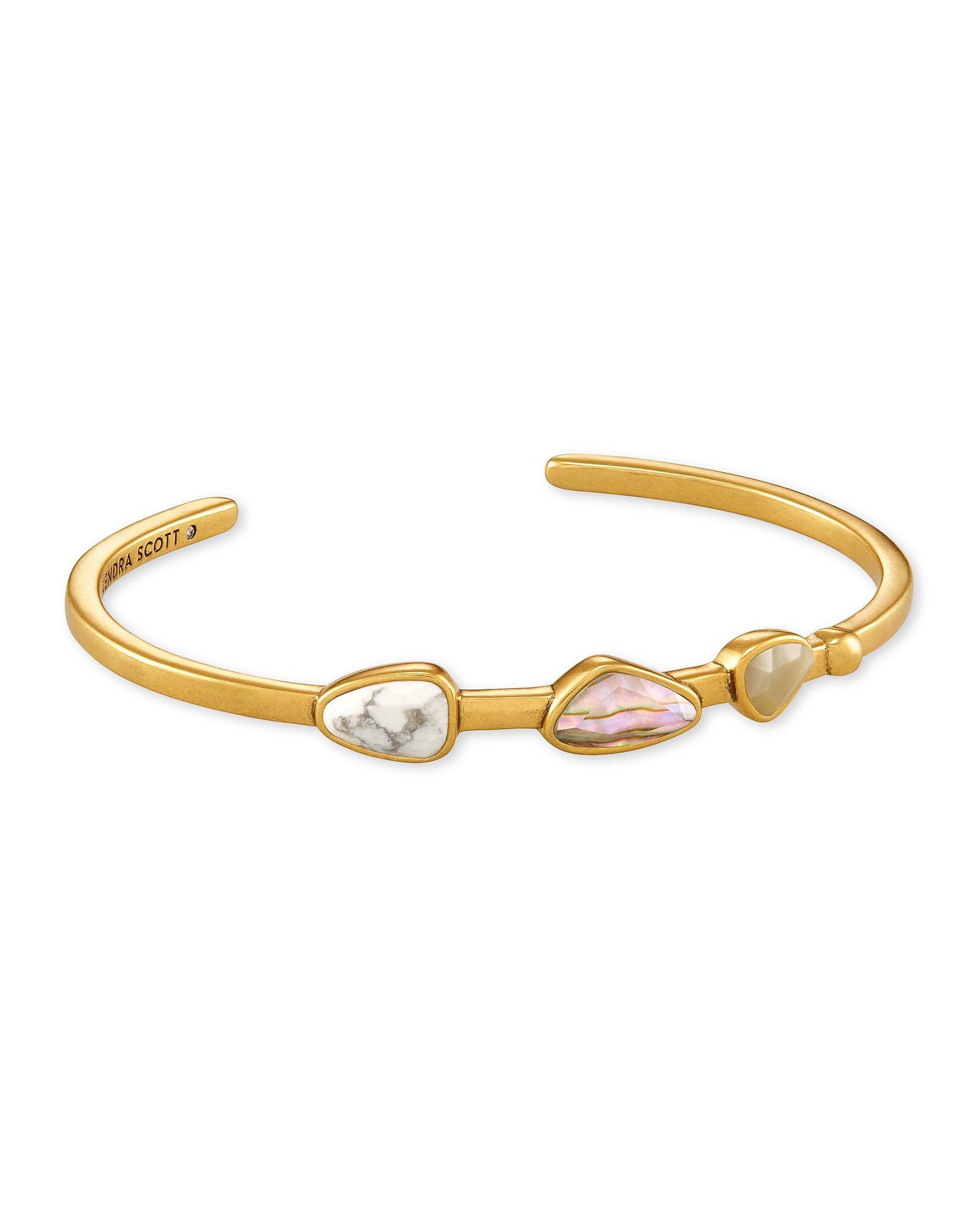 Ivy Vintage Gold Cuff Bracelet In White Mix