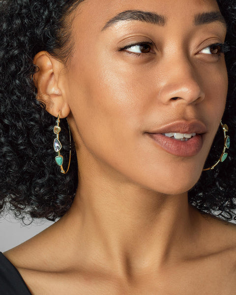 Ivy Vintage Silver Hoop Earrings In Navy Mix
