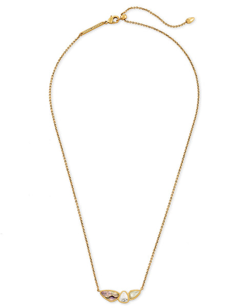 Ivy Vintage Gold Pendant Necklace In White Mix