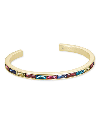 Jack Gold Cuff Bracelet In Multi Crystal