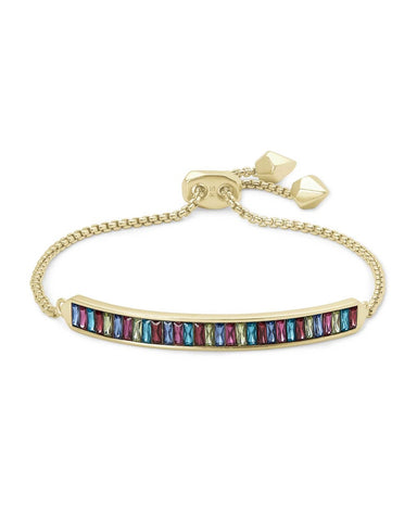 Jack Adjustable Gold Chain Bracelet In Multi Crystal