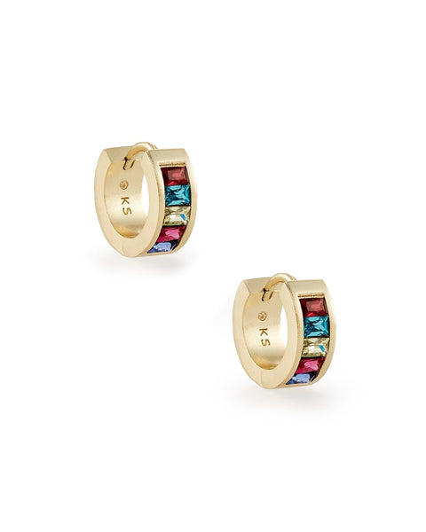 Jack Gold Huggie Earrings In Multi Crystal
