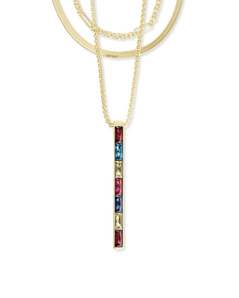 Jack Gold Multi Strand Necklace In Multi Crystal