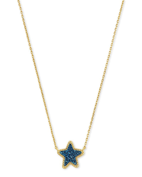 Jae Star Gold Pendant Necklace In Blue Drusy