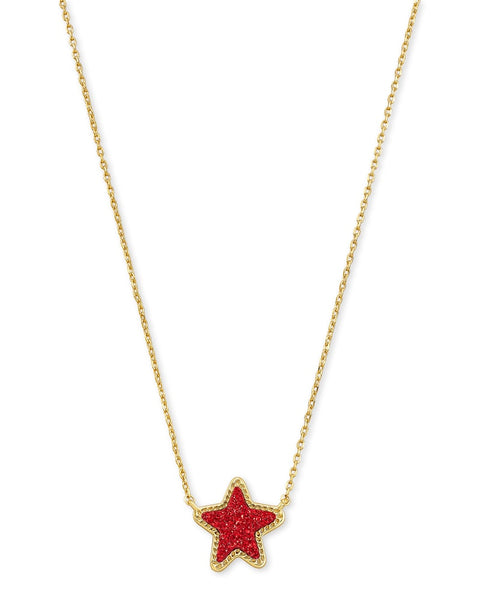 Jae Star Gold Pendant Necklace In Bright Red Drusy