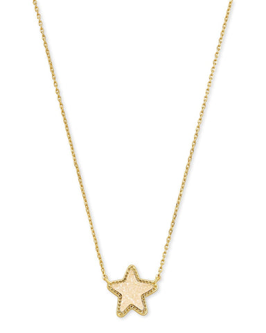 Jae Star Gold Pendant Necklace In Iridescent Drusy