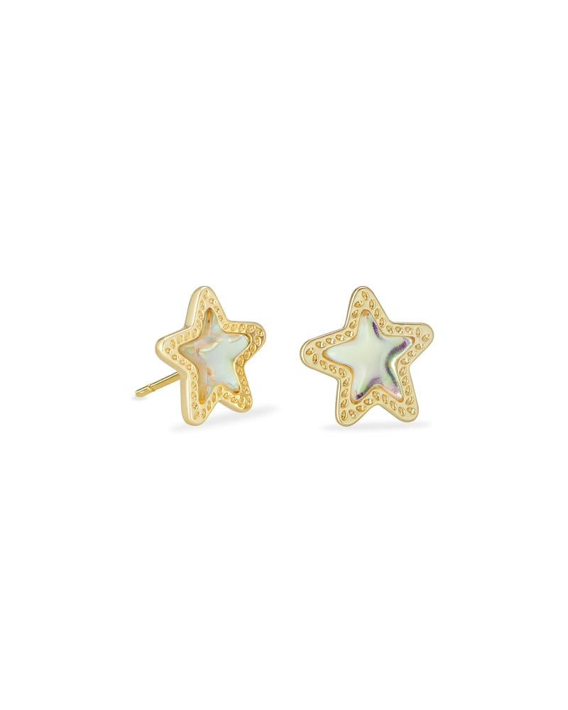 Jae Star Gold Stud Earrings In Dichroic Glass