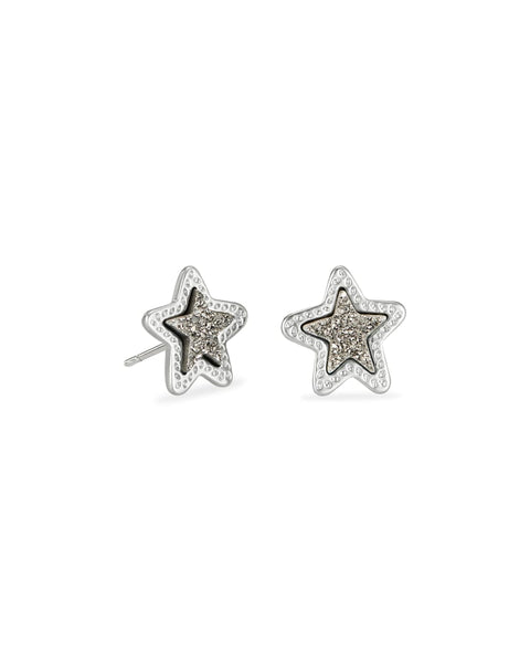 Jae Star Silver Stud Earrings In Platinum Drusy