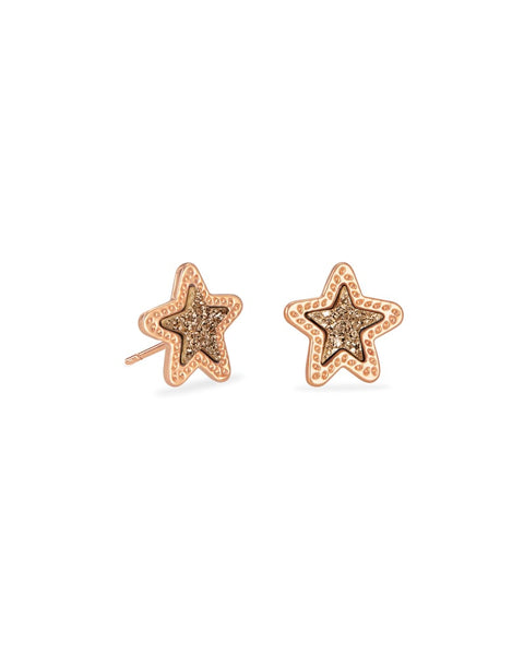 Jae Star Rose Gold Stud Earrings In Rose Gold Drusy