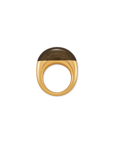 Kaia Vintage Gold Cocktail Ring In Golden Obsidian