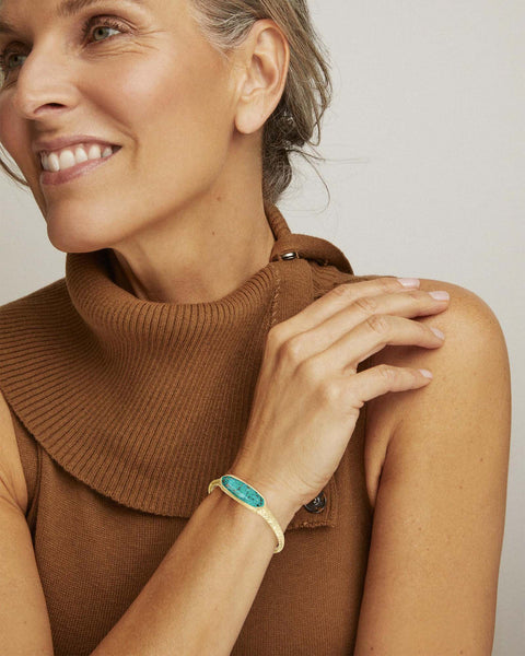 Layla Gold Cuff Bracelet In Bronze Veined Teal Magnesite