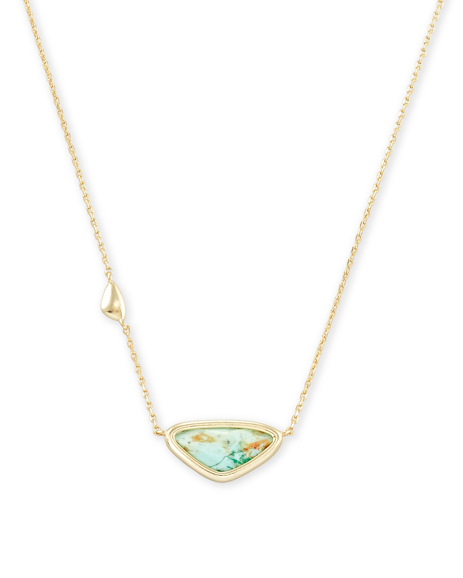 Margot Gold Pendant Necklace In Sea Green Chrysocolla