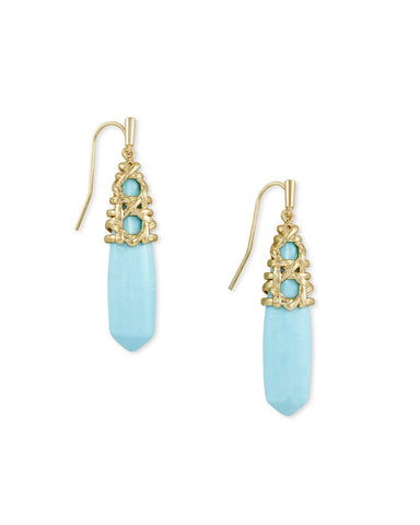 Natalie Gold Drop Earrings In Light Blue Magnesite